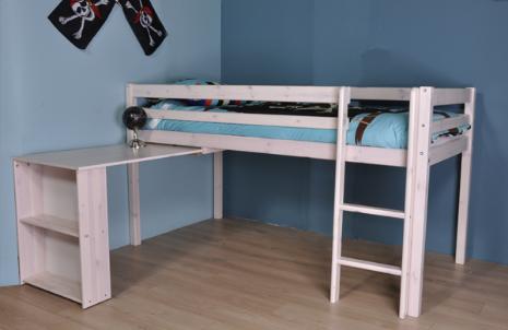 Halfhoogslaper met bureau uit de Thuka Hit collectie. Het uitschuifbureau is voorzien van een boekenkastje. Het ideale bed voor een kleine tienerkamer.