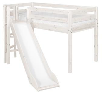 Flexa Classic halfhoog bed met platform en glijbaan